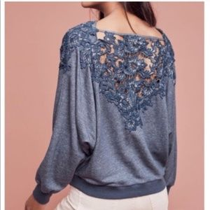 SALE Anthro Meadow Rue | Blue Lace Detail Sweater